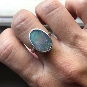 Jewelry - Australian opal ring in sterling silver 6.25
